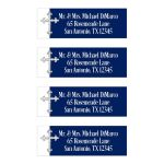 Navy blue and white return address mailing labels with an ornate silver Cross.