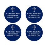 Best personalized navy blue and white return address envelope seals or favor stickers with an ornate silver Cross.