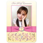 Great yellow, pink, purple, and blue photo template first holy communion invitations with ribbon, bow, flowers, scrolls, bread and wine.
