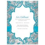 Best turquoise blue, silver, and white snowflakes and glitter damask pattern Bat Mitzvah invite with ribbon, bow and jewel brooch.
