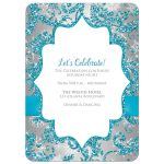 ​Best turquoise blue, silver, and white snowflakes and glitter damask pattern Bat Mitzvah invite with ribbon, bow and jewel brooch.