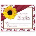 Sunflower burgundy ribbon damask floral fall wedding RSVP card front
