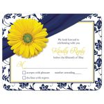 Yellow gerbera daisy flower and navy blue floral damask wedding RSVP card front