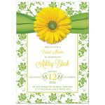 Yellow gerbera daisy flower and green floral damask bridal shower invitation front