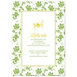 Yellow gerbera daisy flower and green floral damask bridal shower invitation back