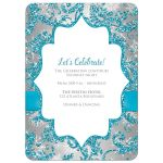 Best aqua blue, silver, and white snowflakes and glitter damask pattern Bat Mitzvah party invite with ribbon, bow and silver Star of David Jewish brooch.
