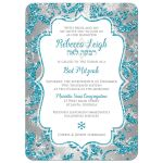Great turquoise blue, silver, and white snowflakes and glitter damask pattern Bat Mitzvah party invitations with Star of David.