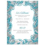 ​Best turquoise blue, silver, and white snowflakes and glitter damask pattern Bat Mitzvah party invite with Star of David.