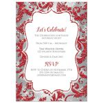​Best red, silver grey, and white snowflakes and glitter damask pattern Bat Mitzvah party invite with Star of David.