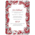 Best red, silver grey, and white snowflakes and glitter damask pattern Bat Mitzvah party invite with Star of David.
