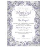 Great frosty purple, blue, silver, and white snowflakes and glitter damask pattern Bat Mitzvah party invitations with Star of David.