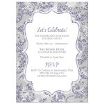 ​Best icy frost purple, blue, silver, and white snowflakes and glitter damask pattern Bat Mitzvah party invites with Star of David.