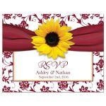 Sunflower burgundy ribbon damask floral fall wedding RSVP postcard front
