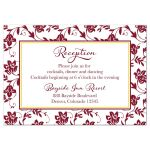 Burgundy and yellow damask floral wedding reception card front