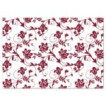 Burgundy and yellow damask floral wedding reception card back