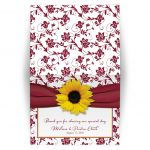 burgundy and yellow sunflower ribbon floral wedding thank you card