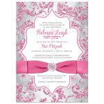 Great dusty rose pink, burgundy, silver gray, and white snowflakes and glitter floral damask Bat Mitzvah party invitations with ribbon, bow and jewels.
