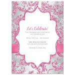 ​Best dusty rose pink, burgundy, silver grey, and white snowflakes and glitter floral damask pattern Bat Mitzvah party invites with ribbon, bow and jewels.