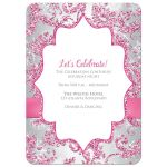 Best dusty rose pink, burgundy, silver grey, and white snowflakes and glitter floral damask pattern Bat Mitzvah party invites with ribbon, bow and jewels.