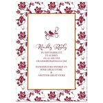 Sunflower burgundy ribbon damask floral fall bridal shower invitation back