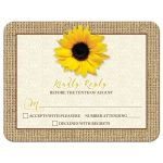 Rustic yellow sunflower flower, lace and burlap wedding RSVP reply card front