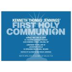 Bold Typography Blue Communion Cup First Holy Communion Invitation
