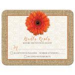 Orange gerbera daisy, burlap, and lace rustic wedding RSVP card front