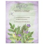 Purple and green woodland bouquet woodsy wedding RSVP reply card front