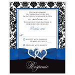 Great royal blue, black, and white damask wedding rsvp cards with decorative scroll ornament, ribbon, bow and jeweled joined glitter hearts on it.
