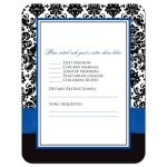 ​Best royal blue, black, and white damask wedding response cards with decorative scroll ornament, ribbon, bow and jeweled joined glitter hearts on it.