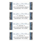 Customizable black and white damask pattern return address mailing labels with royal blue accents.