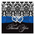 Great royal blue, black, and white damask wedding favor thank you tags with ribbon, bow and jeweled joined glitter hearts on it.