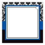 Best cobalt blue, black, and white damask wedding favor thank you gift tags with ribbon, bow and jeweled joined glitter hearts on it.