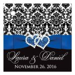 Great cobalt blue, black, and white damask pattern wedding favor thank you gift tag with ribbon, bow and jeweled joined glitter hearts on it.