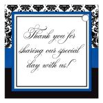 Great royal blue, black, and white damask pattern wedding favor thank you tag with ribbon, bow and jewelled joined glitter hearts on it.