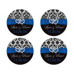 Best royal blue, black, and white damask wedding favor stickers with ribbon, bow and jeweled joined glitter hearts on it.
