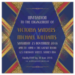 Red Blue Gold Deco Geometric Engagement Invitation
