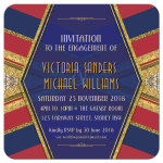 Deco Geometric Engagement Invitation | Red Navy Blue & Gold