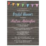 Bridal Shower Invitations - Rainbow Bunting Flags Rustic Wood