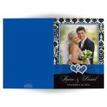 Great royal blue, black, and white damask photo template wedding thank you cards with ribbon, bow and jeweled joined glitter hearts on it.
