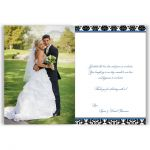 Royal blue, black, and white damask pattern photo wedding thank you cards with ribbon, bow and jeweled joined glitter hearts.