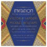 Gold Sparkle Glamour Red Royal Blue Engagement Invitation