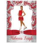 Great red, silver, and white snowflakes and glitter damask Bat Mitzvah party invitations with photo template, ribbon, bow and jewel brooch.