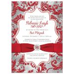 ​Best red, silver, and white snowflakes and glitter damask pattern Bat Mitzvah party invitations with ribbon, bow and jewel brooch.