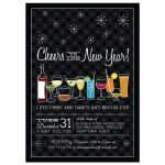 Retro Cocktails Black New Years Eve Party Invitation