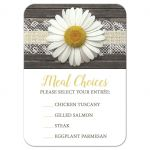 Meal Choice Cards - Daisy Burlap and Lace Wood