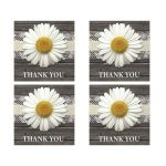 Thank You Stickers - Daisy Burlap and Lace Wood