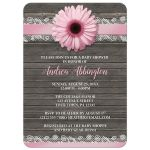Baby Shower Invitations - Pink Daisy Lace Rustic Wood