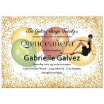 Elegant Gold Glitter and Balloons Quinceanera Party Invitation