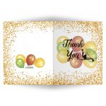 Elegant Gold Glitter and Balloons Quinceanera Party Thank You Card